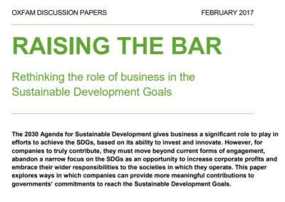 Raising the Bar: Rethinking the role of business in the Sustainable Development Goals