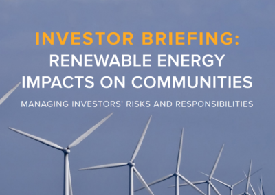 Investor briefing: Renewable energy impacts on communities