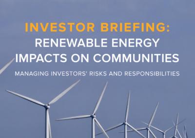 Investor briefing: Renewable energy impacts on communities