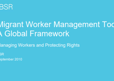 Migrant Worker Management Toolkit: A Global Framework