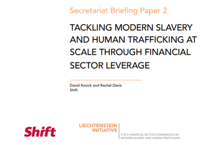 Tackling Modern Slavery and Human Trafficking at Scale through Financial Sector Leverage