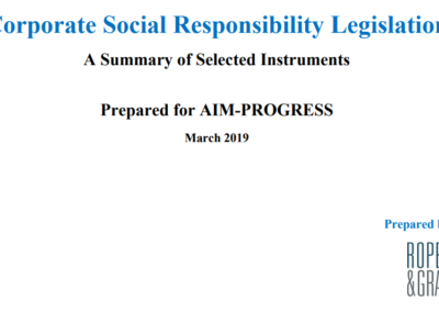 Corporate Social Responsibility Legislation – A Summary of Selected Instruments