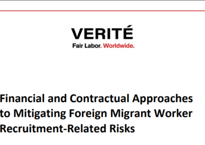 Financial and Contractual Approaches to Mitigating Foreign Migrant Worker Recruitment-Related Risks