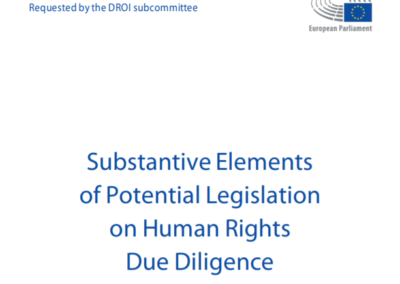 Substantive Elements of Potential Legislation on Human Rights Due Diligence